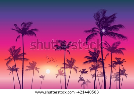 Exotic tropical palm trees at sunset or sunrise. Highly detailed and editable - stock vector