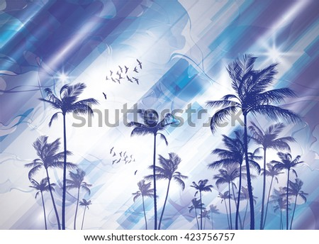 Exotic tropical palm trees at sunset or sunrise, with cloudy sky. Highly detailed and editable - stock vector