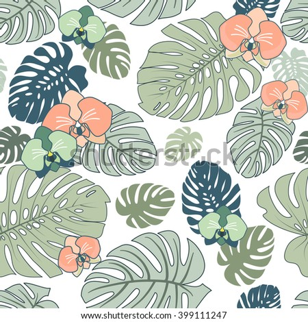 Exotic Tropical seamless pattern with flowers - stock vector