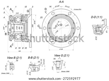 Expanded sketch of bearing with hatching. Engineering drawing with lines, angle degrees and numbers. Vector image - stock vector
