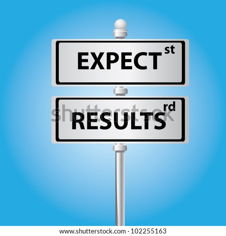 Expect and results on signpost on blue background,Vector - stock vector