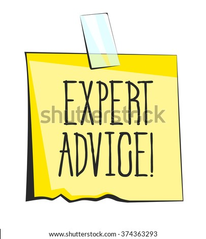 Expert advice paper sticky note. Retro reminder sticker - stock vector
