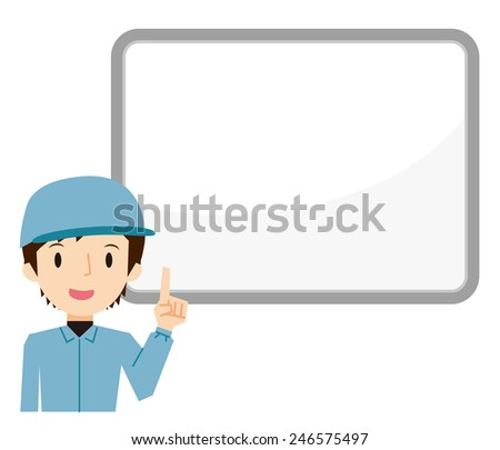 Explained worker man - stock vector