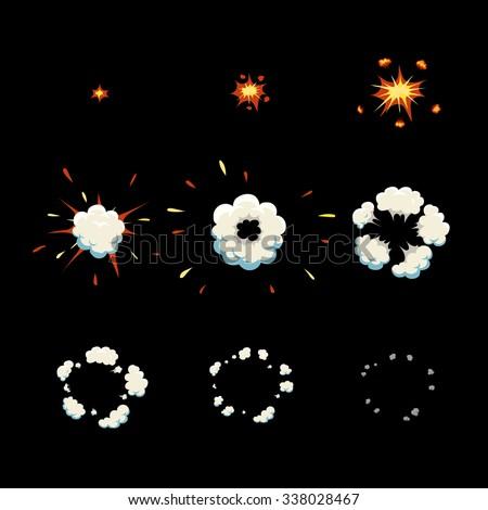 Explode effect animation and smoke. Cartoon explosion frames  Vector - stock vector