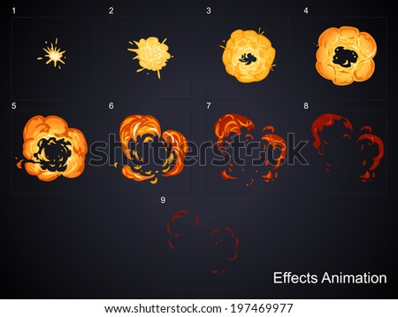 Explode effect animation.Can use for game design or animation. - stock vector