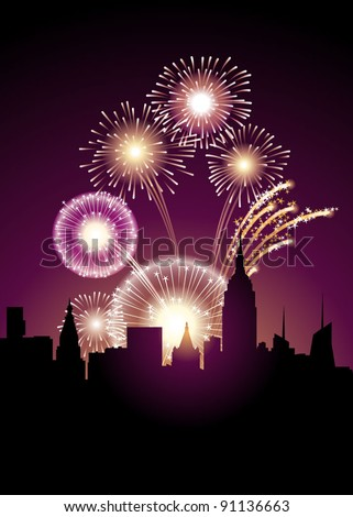 Exploding fireworks above a big city - stock vector