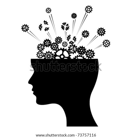 Exploding gears inside head of man. - stock vector
