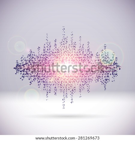 Exploding party music wave made of note signs - stock vector