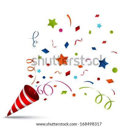 exploding party popper - stock vector