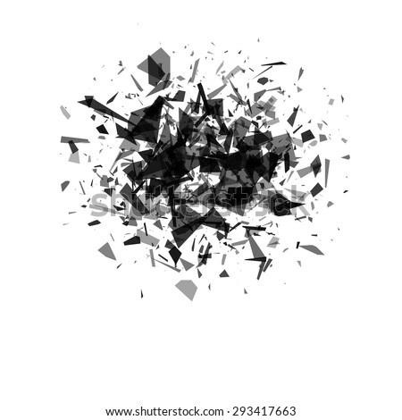 explosion cloud of black pieces on white background. vector illustration - stock vector
