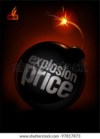 Explosion Price, sale background with bomb. Eps10 Vector. - stock vector