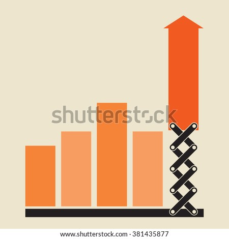 exponential growth using new approach - stock vector