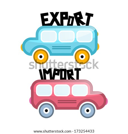 Export Import Vector Bus Icons - stock vector
