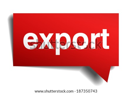 export red 3d realistic paper speech bubble isolated on white - stock vector