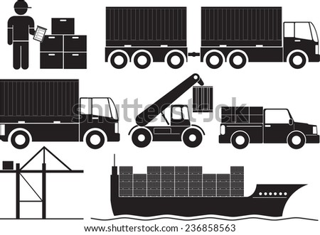 Exports of goods by sea. - stock vector