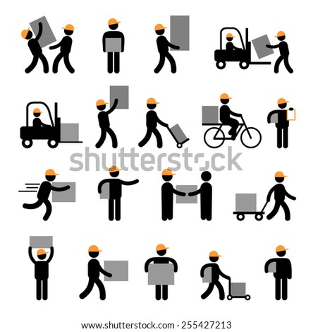 Express delivery and logistics services for business. Flat style icons - stock vector