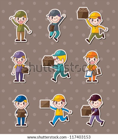Express delivery people stickers - stock vector