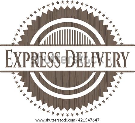 Express Delivery retro wood emblem - stock vector