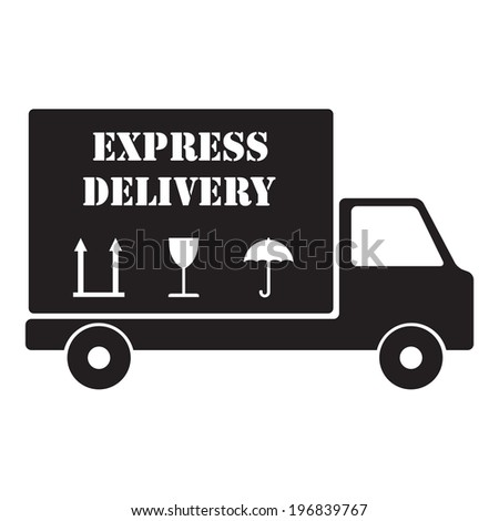 Express delivery truck. Vector icon or sign. - stock vector