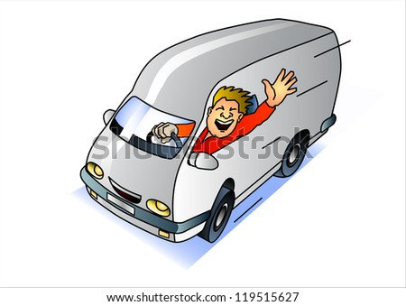 express service van with waving driver - stock vector