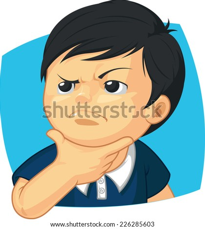 Expression - Boy Thinking - stock vector