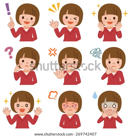 Expression set of girl - stock vector