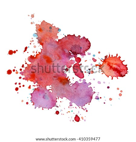 Expressive abstract watercolor spot blotch with splashes red vine color. Banner for text, grunge element for decoration. Watercolor drop. - stock vector