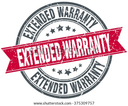 extended warranty red round grunge vintage ribbon stamp - stock vector