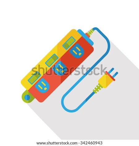 Extension cord flat icon - stock vector