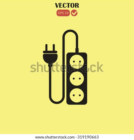 extension cord icon - stock vector