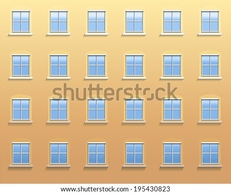 Exterior wall of an apartment building with twenty four windows in which the blue sky is reflected. Vector illustration on apricot colored background. - stock vector