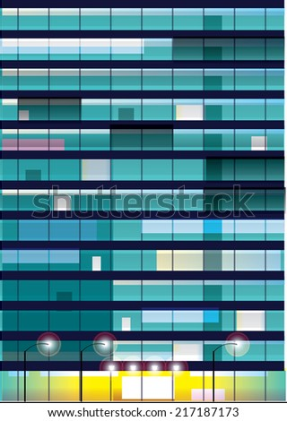 Exterior wall  with  windows. Office building at night. Vector illustration. - stock vector