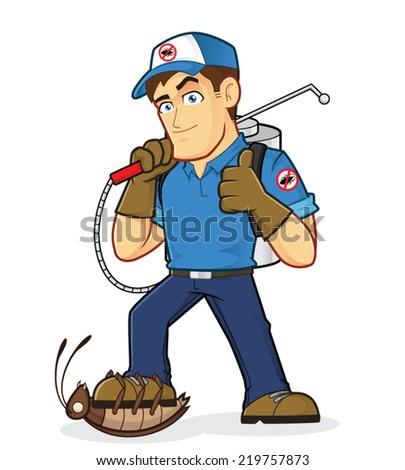 Exterminator or Pest control - stock vector