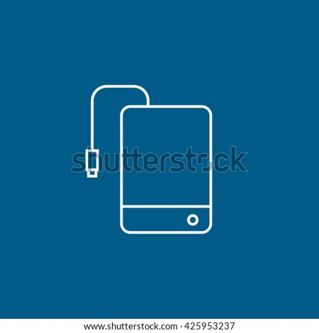 External Hard Disc Drive Line Icon On Blue Background - stock vector