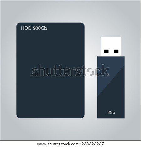 external hard drive and flash drive isolated vector illustration - stock vector