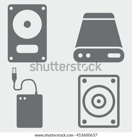 External Hard Drive Icons - stock vector
