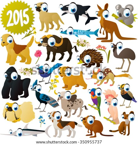 extra big set of funny colorful comic cartoon animals , birds and fish. Collection for animal lovers. Illustration for books, apps, stickers, labels, logos, icons or banners - stock vector