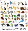 Extra large set of animals including lion, kangaroo, giraffe, elephant, camel, antelope, hippo, tiger, zebra, rhinoceros - stock vector
