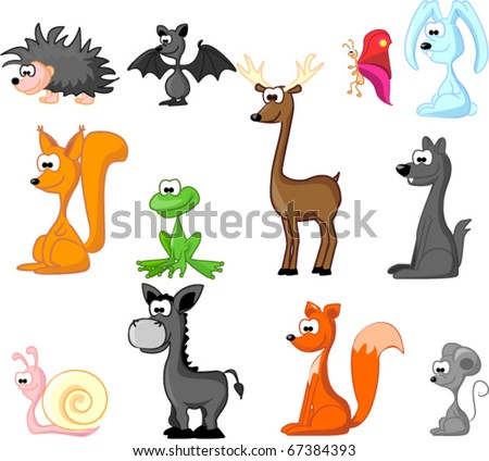 extra large set of animals including rabbit, wolf, coyote, fox, butterfly, hedgehog, deer, squirrel, mouse, frog, donkey, snail, bat - stock vector
