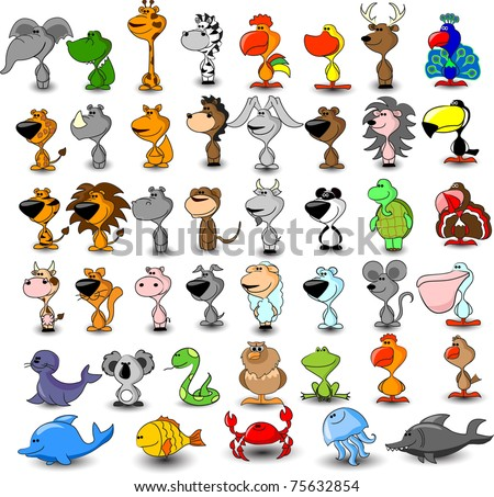Extra large vector set of different cute animals - stock vector