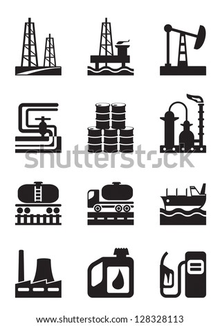 Extraction and processing of oil - vector illustration - stock vector