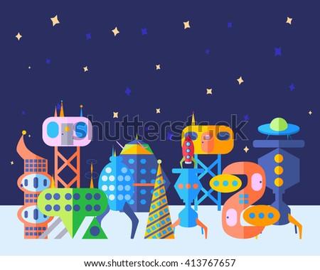 Extraterrestrial future city set in cartoon flat style. Bright future city, extraterrestrial city. - stock vector