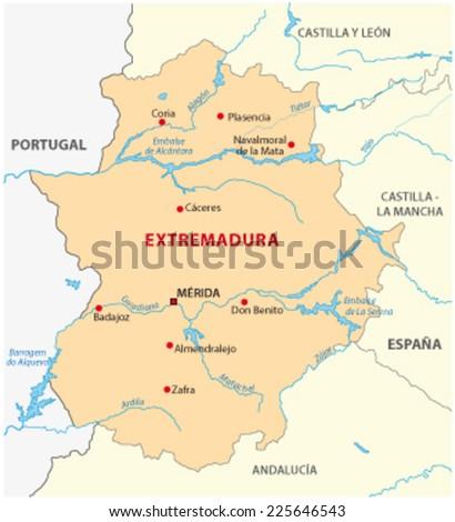 extremadura map - stock vector