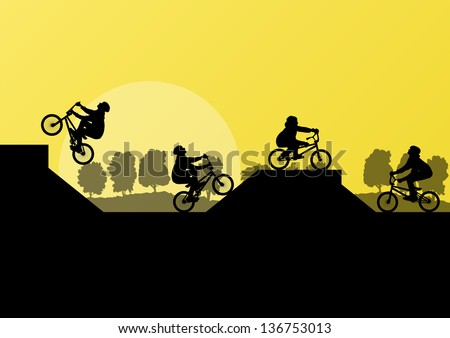 Extreme cyclist silhouettes on ramp vector background - stock vector