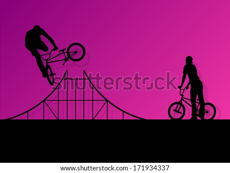 Extreme cyclists bicycle riders active children sport silhouettes vector background illustration - stock vector