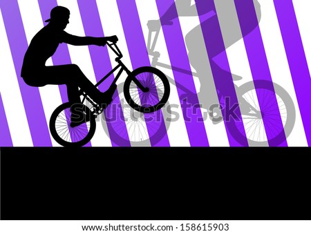 Extreme cyclists bicycle riders active sport silhouettes vector background illustration - stock vector