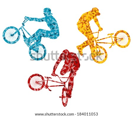 Extreme cyclists bicycle riders active teenager vector background concept - stock vector
