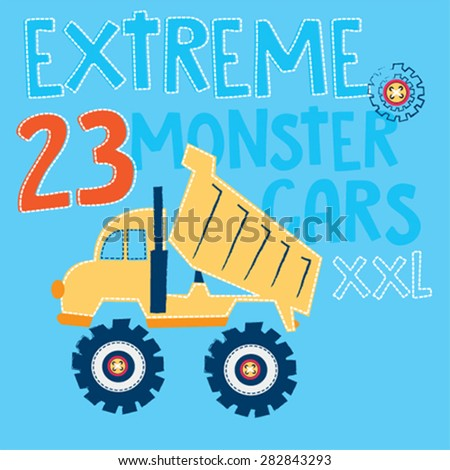 extreme monster car, T-shirt design vector illustration - stock vector