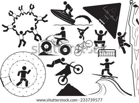 Extreme sport icons - stock vector