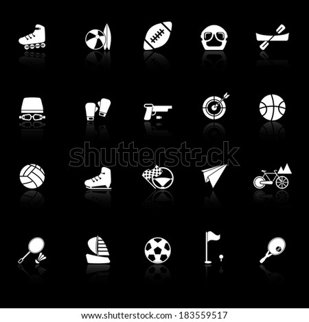 Extreme sport icons with reflect on black background, stock vector - stock vector